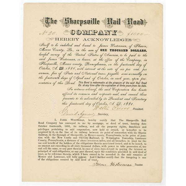 Sharpsville Rail Road Co., 1881 I/U Bond Rarity