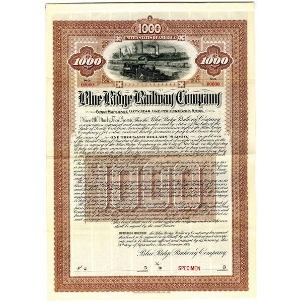Blue Ridge Railway Co. 1901 Specimen Bond Rarity