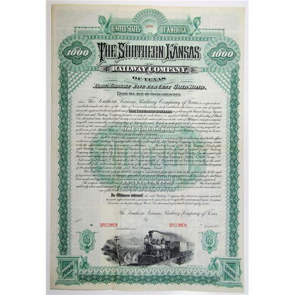 Southern Kansas Railway Co. of Texas, 1887 Specimen Bond Rarity
