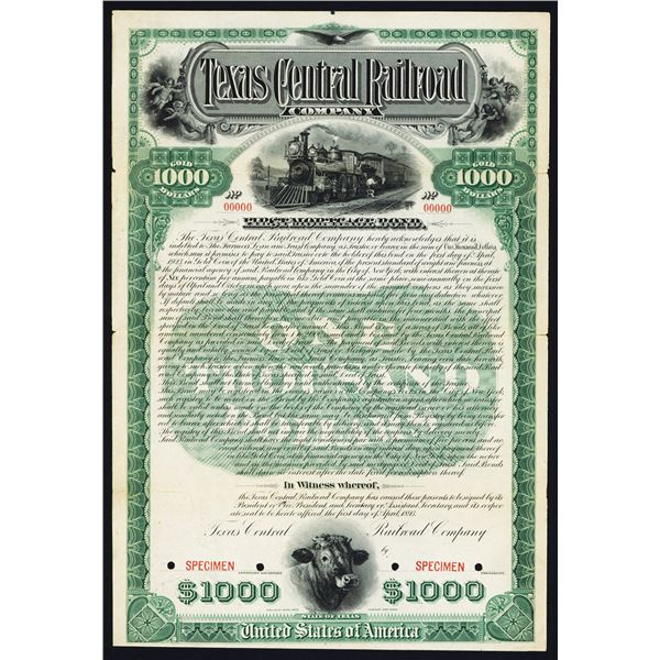 Texas Central Railroad Co., 1893 Specimen Bond Rarity
