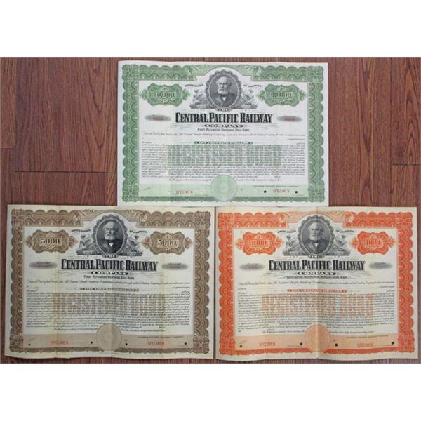 Central Pacific Railway Co. Specimen Bond Trio
