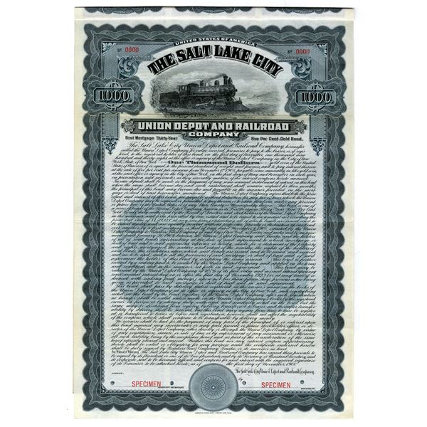 Salt Lake City Union Depot and Railroad Co. 1908 Specimen Bond.
