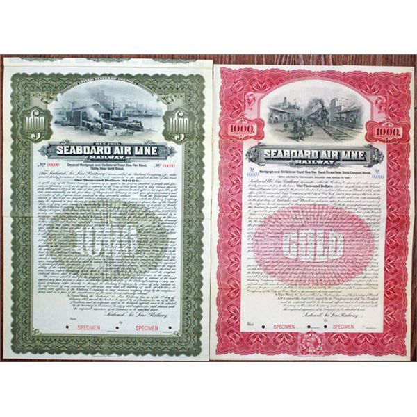 Seaboard Air Line Railway, 1907 Specimen Bond Pair