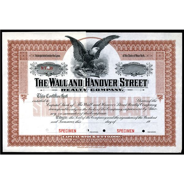 Wall and Hanover Street Realty Co., ca.1900-1910 Specimen Stock Certificate.