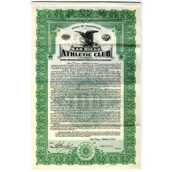 San Diego Athletic Club 1927 I/U Bond