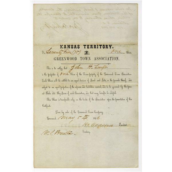 Kansas Territory, Greenwood Town Association, 1856 Stock Certificate