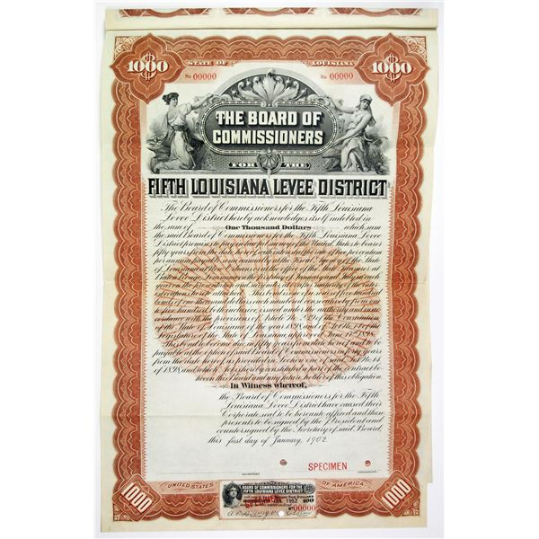 Board of Commissioners for the Fifth Louisiana Levee District 1902 Specimen Bond