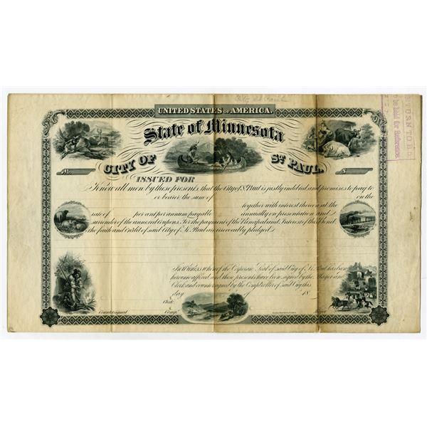 City of St. Paul, State of Minnesota, 18xx, ca.1860s Specimen Bond Rarity