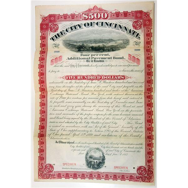 City of Cincinnati, 1892 Specimen Bond