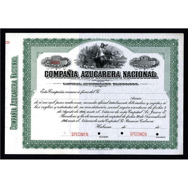 Compania Azucarera Nacional Specimen Share Certificate. 1900-20s