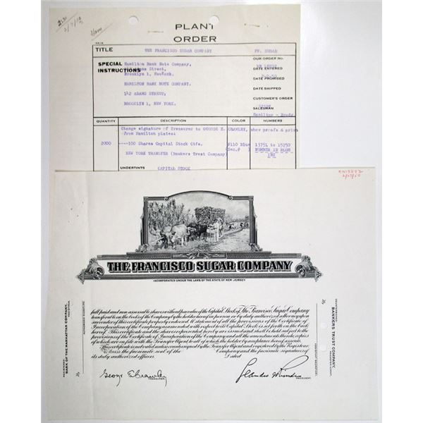 Francisco Sugar Co. 1950 Progress Proof Stock Certificate and Plant Order Form