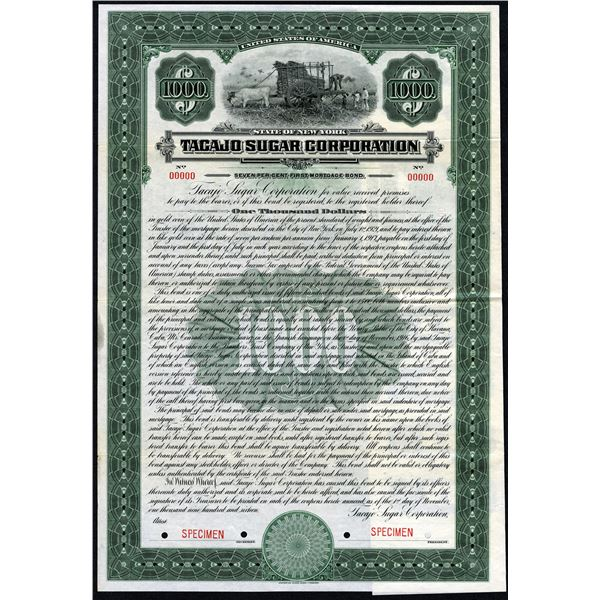 Tacajo Sugar Corp., 1916 Specimen Bond