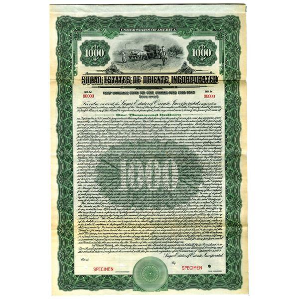 Sugar Estates of Oriente, Inc., 1922 Specimen Bond