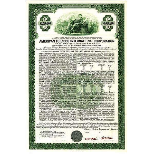 American Tobacco International Corp. 1968 $50 Million Dollar Specimen Bond