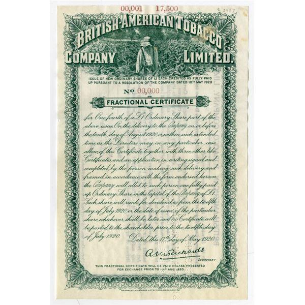 British-American Tobacco Co. Ltd. 1920