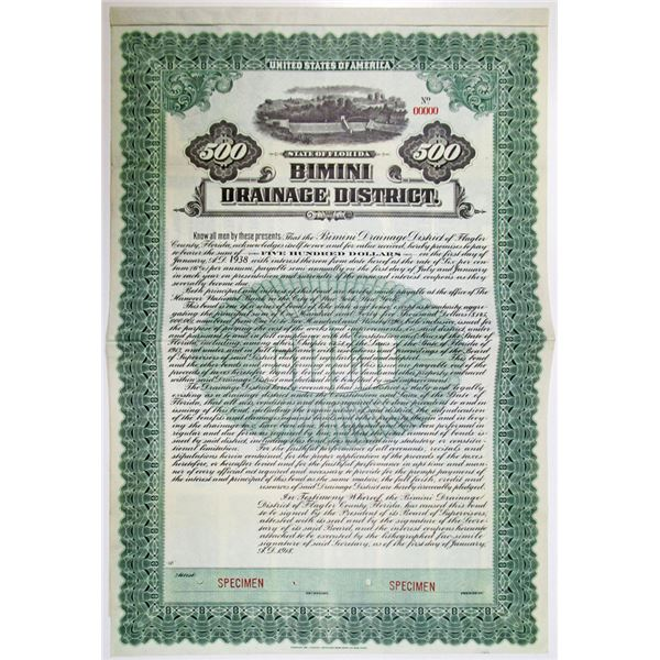 Bimini Drainage District, 1918 Specimen Bond
