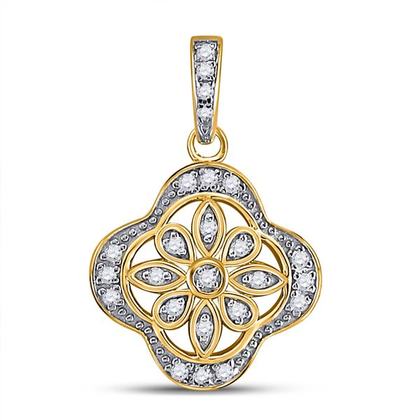 Diamond Floral Fashion Pendant 1/10 Cttw Yellow-tone Sterling Silver