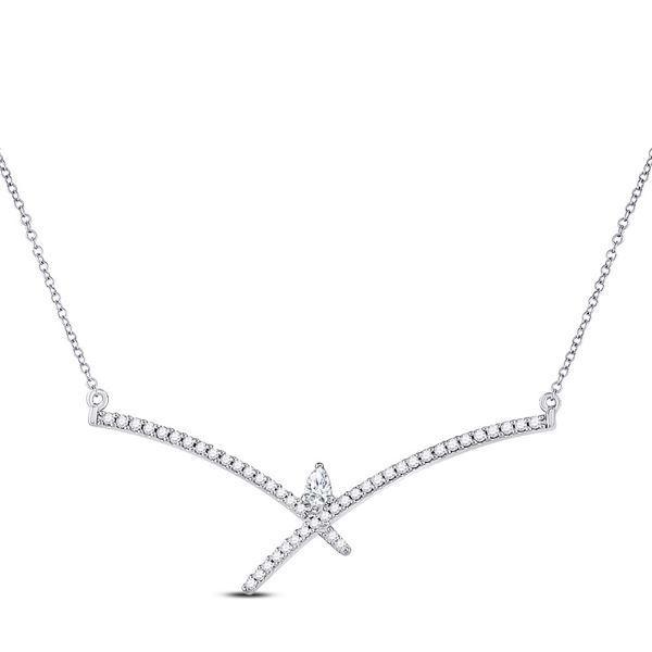 Pear Diamond Modern Fashion Necklace 1/4 Cttw 10kt White Gold