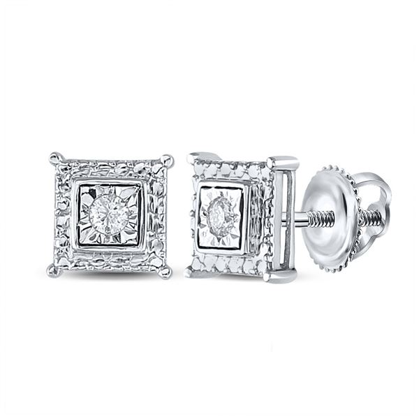 Diamond Solitaire Square Stud Earrings 1/10 Cttw Sterling Silver