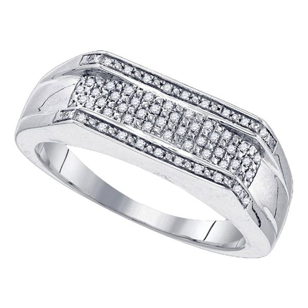 Sterling Silver Mens Diamond Flat Band Ring 1/6 Cttw Sterling Silver