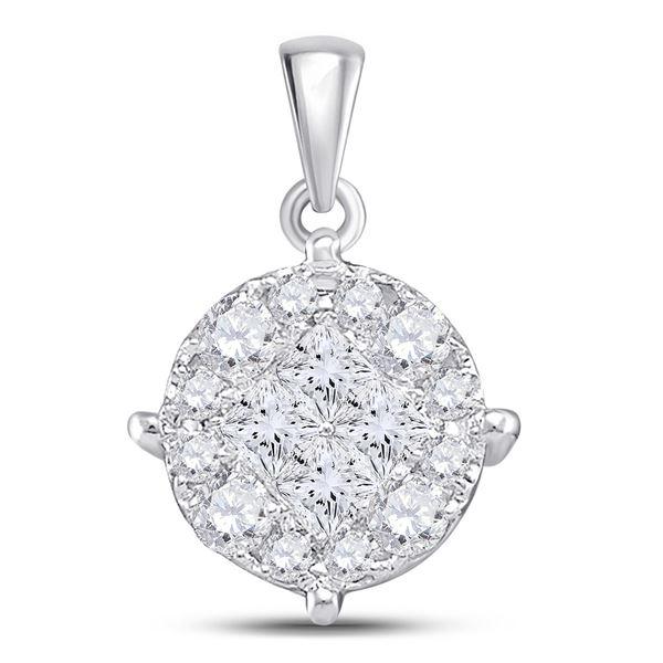 Princess Diamond Fashion Cluster Pendant 1 Cttw 14kt White Gold