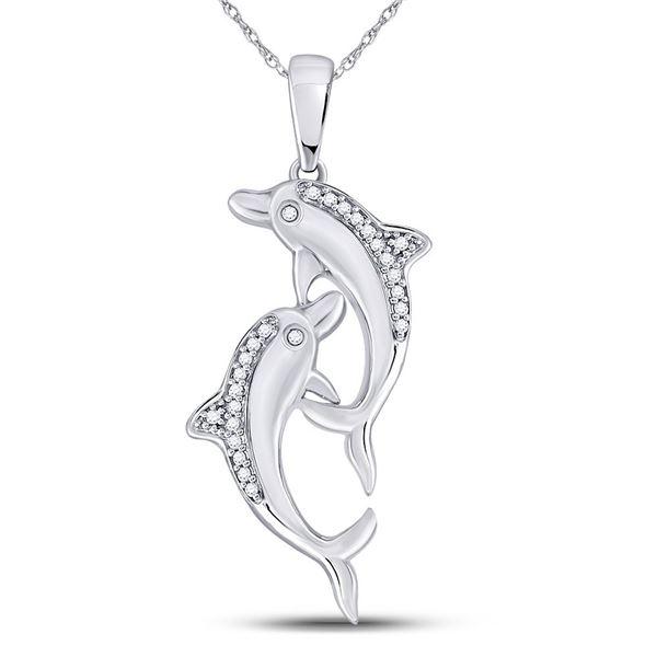 Diamond Dolphin Nautical Animal Pendant 1/12 Cttw 10kt White Gold