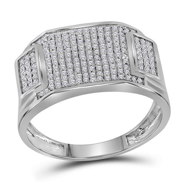 Mens Diamond Rectangle Cluster Ring 1/2 Cttw 10kt White Gold