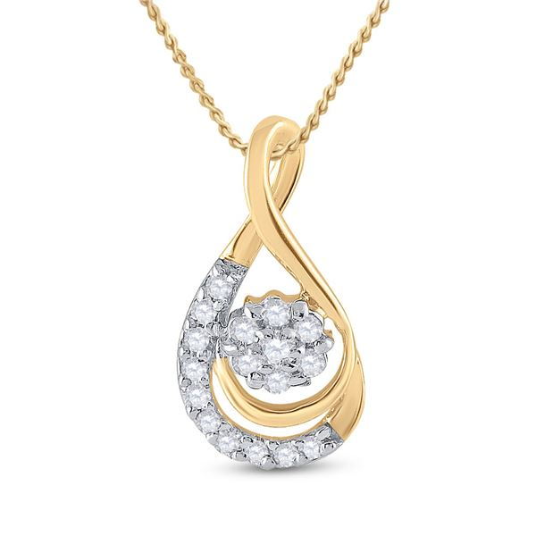 Diamond Flower Cluster Teardrop Pendant 1/10 Cttw 10kt Yellow Gold