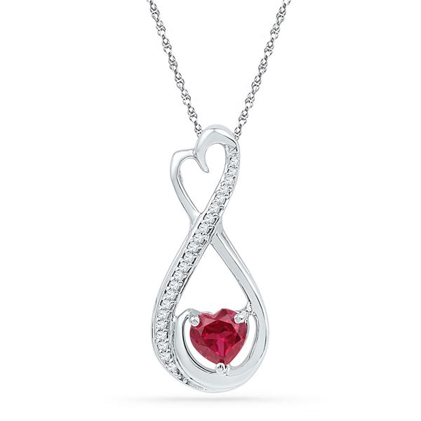Heart Lab-Created Ruby Infinity Pendant 5/8 Cttw Sterling Silver