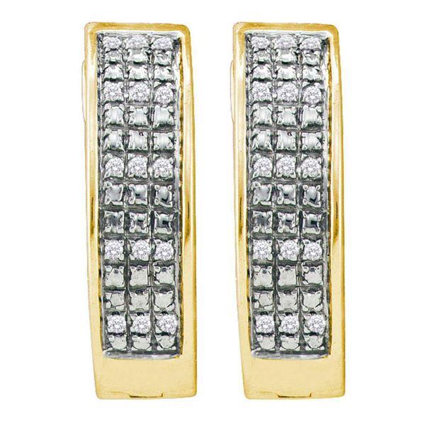 Pave-set Diamond Triple Row Hoop Earrings 1/10 Cttw Yellow-tone Sterling Silver