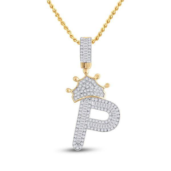 Mens Baguette Diamond Crown P Letter Charm Pendant 5/8 Cttw 10kt Yellow Gold