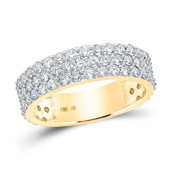 Mens Diamond Pave Band Ring 2-7/8 Cttw 14kt Yellow Gold