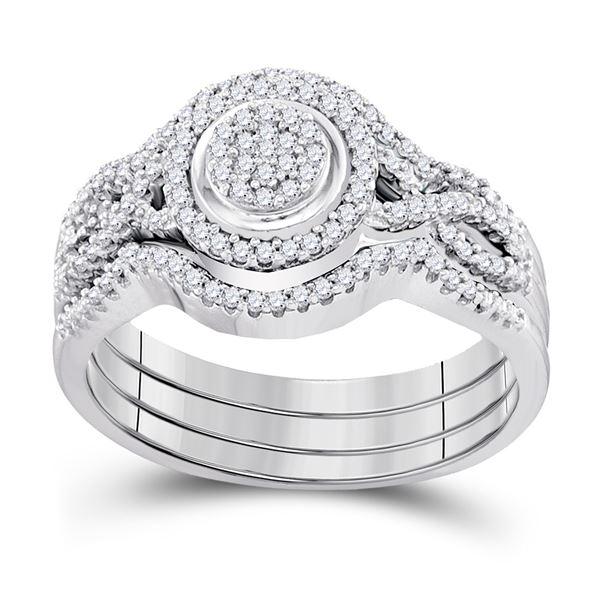 Diamond Bridal Wedding Ring Band Set 1/3 Cttw 10kt White Gold