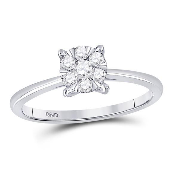 Diamond Flower Cluster Ring 1/4 Cttw 10kt White Gold