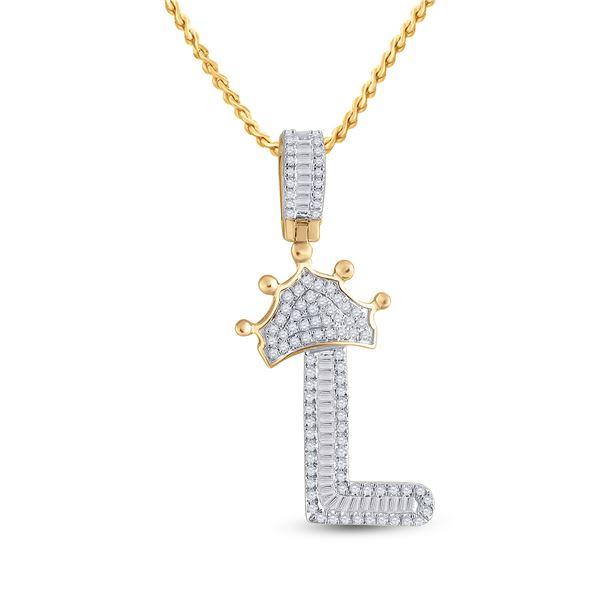 Mens Baguette Diamond Crown L Letter Charm Pendant 1/2 Cttw 10kt Yellow Gold