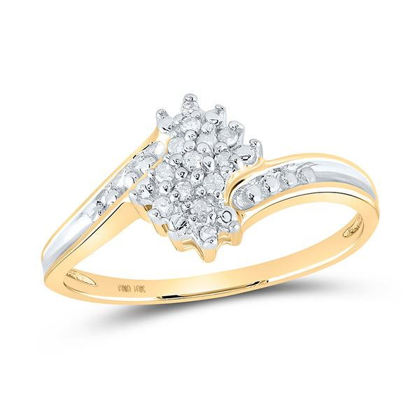 Diamond Cluster Ring 1/10 Cttw 10kt Two-tone Gold