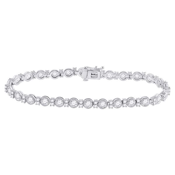 Diamond Statement Tennis Bracelet 4 Cttw 14kt White Gold