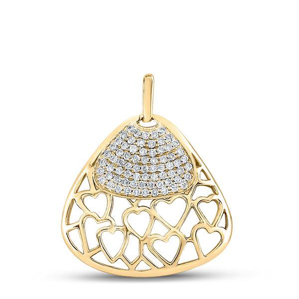 Diamond Heart Triangle Pendant 1/2 Cttw 10kt Yellow Gold