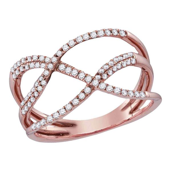 Diamond Open Strand Crossover Band Ring 1/3 Cttw 10kt Rose Gold