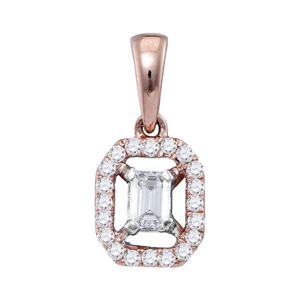 Emerald Diamond Solitaire Pendant 1/4 Cttw 14kt Rose Gold