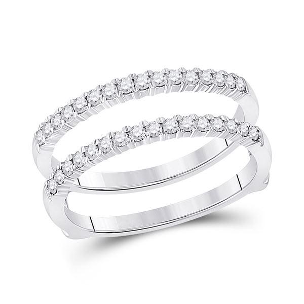 Diamond Wrap Ring Guard Enhancer 3/8 Cttw 14kt White Gold