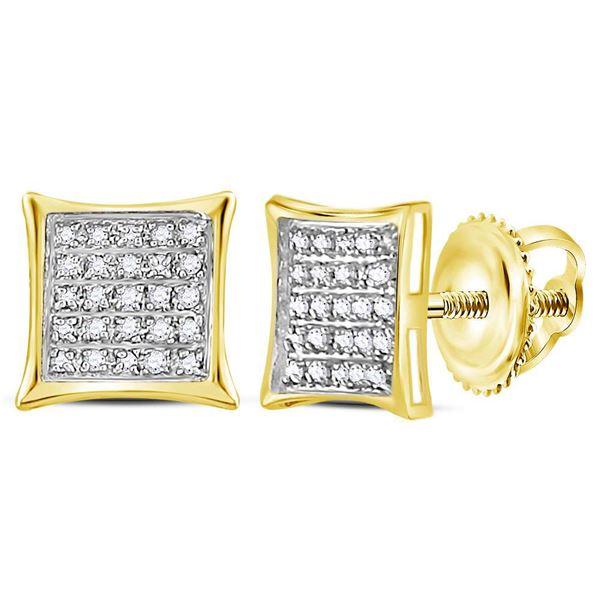 Diamond Square Kite Cluster Earrings 1/6 Cttw 10kt Yellow Gold