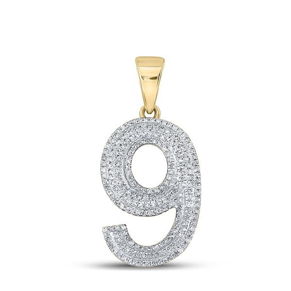 Mens Diamond Number 9 Charm Pendant 5/8 Cttw 10kt Yellow Gold