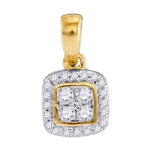 Diamond Square Cluster Pendant 1/10 Cttw 10kt Yellow Gold