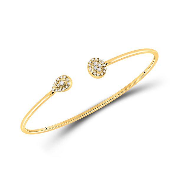 Diamond Cluster Bangle Bracelet 1/5 Cttw 10kt Yellow Gold