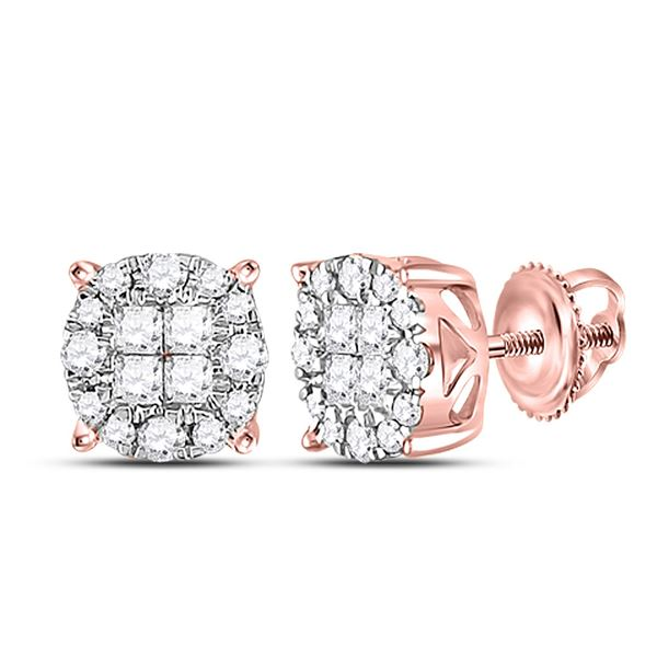 Princess Diamond Fashion Cluster Earrings 1/4 Cttw 14kt Rose Gold