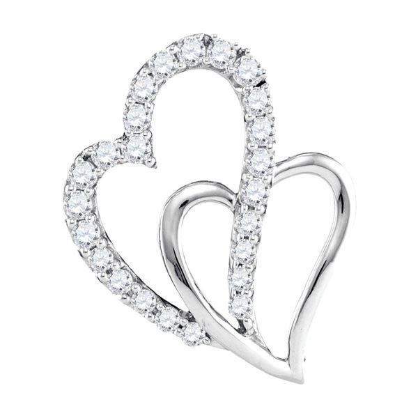 Diamond Double Heart Pendant 3/8 Cttw 10kt White Gold