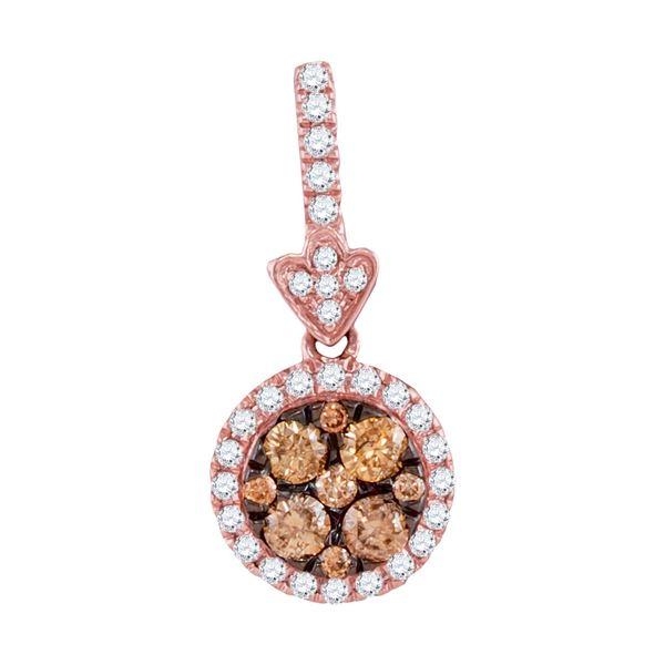 Brown Diamond Circle Frame Cluster Pendant 1/2 Cttw 14kt Rose Gold
