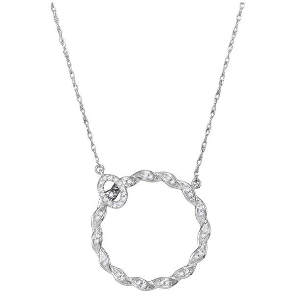 Diamond Circle Pendant Necklace 1/10 Cttw 10kt White Gold