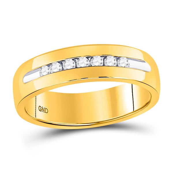 Mens Machine Set Diamond Wedding Channel Band Ring 1/4 Cttw 14kt Yellow Gold